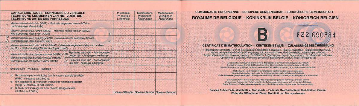 Kentekenbewijs Inschrijvingsbewijs Autoveiligheid